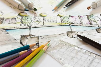 Gartenplanung - handgezeichneter Entwurf eines kleinen Stadtgartens